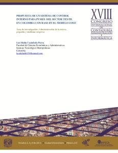 PROPUESTA DE UN SISTEMA DE CONTROL INTERNO PARA PYMES DEL SECTOR TEXTIL EN COLOMBIA CON BASE EN EL MODELO COSO