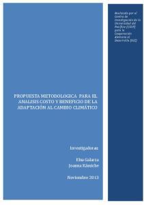 PROPUESTA METODOLOGICA PARA EL ANALISIS COSTO Y BENEFICIO DE LA ADAPTACIO N AL CAMBIO CLIMA TICO