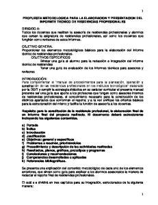 PROPUESTA METODOLOGICA PARA LA ELABORACION Y PRESENTACION DEL INFORMTE TECNICO DE RESIDENCIAS PROFESIONALES