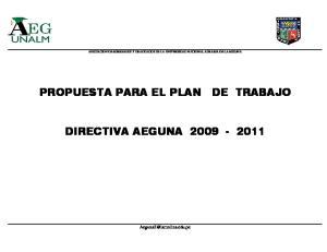 PROPUESTA PARA EL PLAN DE TRABAJO DIRECTIVA AEGUNA