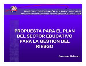 PROPUESTA PARA EL PLAN DEL SECTOR EDUCATIVO PARA LA GESTION DEL RIESGO