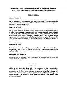 PROPUESTA PARA LA ELABORACION DEL PLAN DE DESARROLLO SEGUIMOS EN ACADEMIA Y PROYECCION SOCIAL MARCO LEGAL