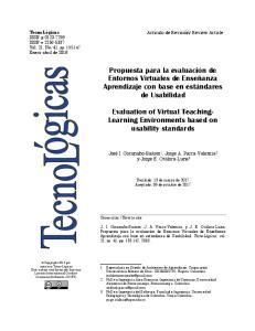 Propuesta para la evaluación de Entornos Virtuales de Enseñanza. Aprendizaje con base en estándares de Usabilidad