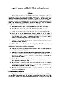 Propuesta programa municipal de vivienda barrios y urbanismo. Vivienda
