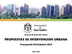 PROPUESTAS DE INTERVENCION URBANA