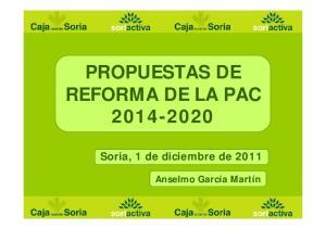 PROPUESTAS DE REFORMA DE LA PAC
