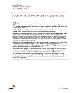 Propuestas de Reformas Fiscales para 2014
