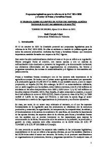 Propuestas legislativas para la reforma de la PAC y el sector de frutas y hortalizas frescas