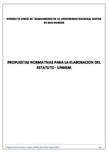 PROPUESTAS NORMATIVAS PARA LA ELABORACION DEL ESTATUTO - UNMSM