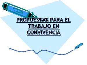 PROPUESTAS PARA EL TRABAJO EN CONVIVENCIA