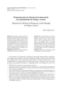 Propuestas para la reforma de la democracia en el pensamiento de Ortega y Gasset *