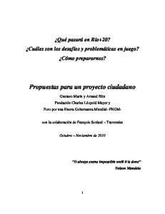 Propuestas para un proyecto ciudadano