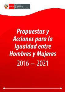 Propuestas y Acciones para la Igualdad entre Hombres y Mujeres