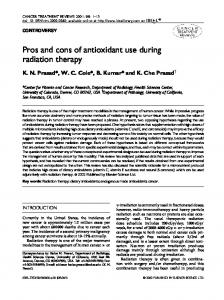 Pros and cons of antioxidant use during radiation therapy
