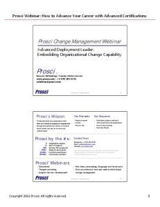 Prosci Research Methodology Training Advisory Services