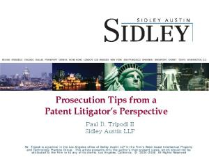 Prosecution Tips from a Patent Litigator s Perspective
