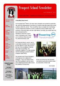 Prospect School Newsletter