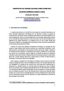 PROSPECTIVA DEL PROCESO ELECTORAL COMPLUTENSE (resultados preliminares primera vuelta)