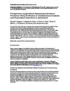 Prospective Longitudinal Associations Between Persistent Sleep Problems in Childhood and Anxiety and Depression Disorders in Adulthood