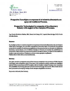 Prospective Technological in companies of the alimentary industry with support of the Analysis of Processes
