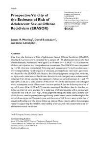 Prospective Validity of the Estimate of Risk of Adolescent Sexual Offense Recidivism (ERASOR)
