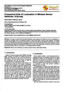 Prospective View of Localization in Wireless Sensor Networks: A Survey