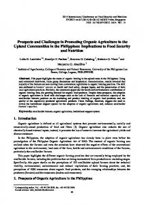 Prospects and Challenges in Promoting Organic Agriculture in the Upland Communities in the Philippines: Implications to Food Security and Nutrition