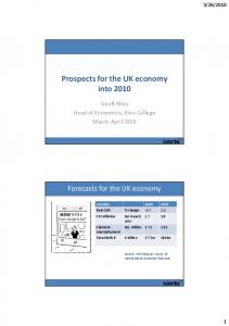 Prospects for the UK economy into 2010