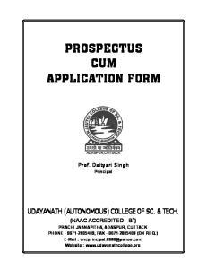 PROSPECTUS CUM APPLICATION FORM