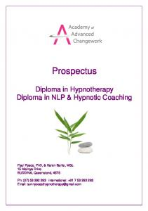 Prospectus. Diploma in Hypnotherapy Diploma in NLP & Hypnotic Coaching