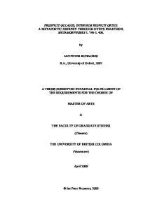 PROSPICIT OCCASUS, INTERDUM RESPICIT ORTUS: A METAPOETIC JOURNEY THROUGH OVID S PHAETHON, METAMORPHOSES IAN PETER RUNACRES