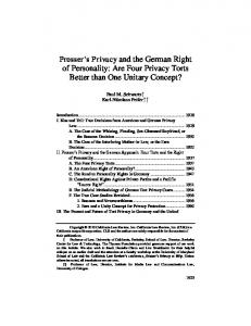 Prosser s Privacy and the German Right of Personality: Are Four Privacy Torts Better than One Unitary Concept?