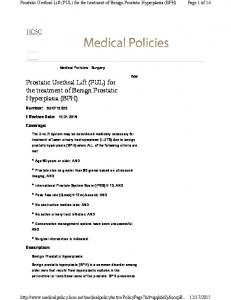 Prostatic Urethral Lift (PUL) for the treatment of Benign Prostatic Hyperplasia (BPH)