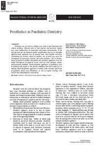 Prosthetics in Paediatric Dentistry