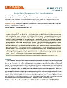 Prosthodontic Management of Obstructive Sleep Apnea