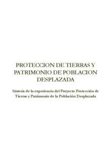 PROTECCION DE TIERRAS Y PATRIMONIO DE POBLACION DESPLAZADA