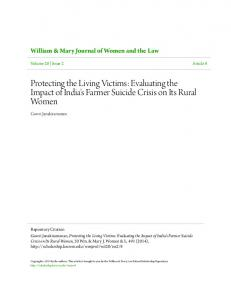 Protecting the Living Victims: Evaluating the Impact of India's Farmer Suicide Crisis on Its Rural Women
