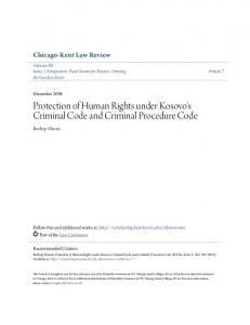 Protection of Human Rights under Kosovo's Criminal Code and Criminal Procedure Code