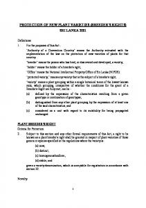 PROTECTION OF NEW PLANT VARIETIES (BREEDER'S RIGHTS) SRI LANKA 2001