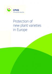 Protection of new plant varieties in Europe