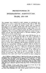 PROTECTIONISM IN INTERNATIONAL AGRICULTURAL TRADE,
