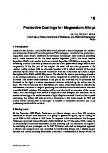 Protective Coatings for Magnesium Alloys
