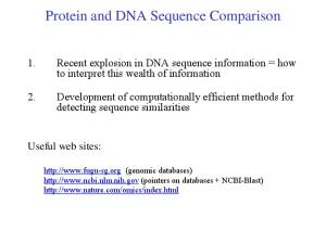 Protein and DNA Sequence Comparison