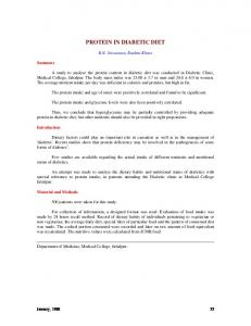 PROTEIN IN DIABETIC DIET