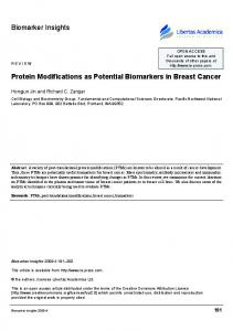 Protein Modifications as Potential Biomarkers in Breast Cancer