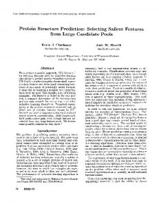 Protein Structure Prediction: Selecting Salient Features from Large Candidate Pools
