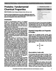 Proteins: Fundamental Chemical Properties