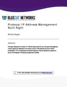 Proteus: IP Address Management Built Right