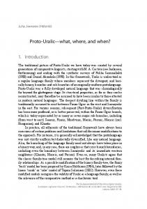 Proto-Uralic what, where, and when?