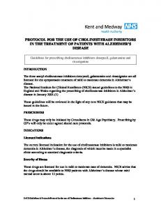 PROTOCOL FOR THE USE OF CHOLINESTERASE INHIBITORS IN THE TREATMENT OF PATIENTS WITH ALZHEIMER S DISEASE